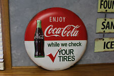 COCA COLA button bottle signs EMBOSSED w Vintage look not porcelain COKE machine