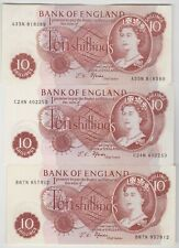 SIX B309 & B310 FFORDE 1967 10/- BANKNOTES IN NEAR MINT TO MINT CONDITION