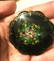 Russian USSR Vintage signed ,hand painted brooch