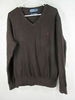POLO Ralph Lauren mens brown vneck mesh cotton cashmere sweater XL EUC