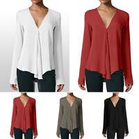 Women's Casual V Neck Long Sleeve Chiffon Blouse T-Shirt Tops Shirt Plus Size