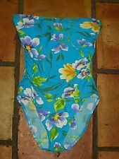 CHRISTINA BLUE FLORAL STRAPLESS SWIMSUIT SWIMMING SUIT WOMENS SIZE 12 12L