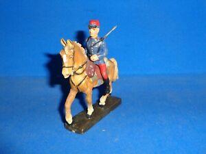 Lineol 7cm French Soldier Mounted on Horseback Elastolin