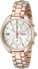 Fossil Women's CH2977 Land Racer Chronograph Silver Dial Rose Gold Steel Watch