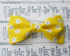 SUNSHINE YELLOW AND DAISY FLOWERS BOW TIE DOUBLE LAYER TUXEDO CLIP ON  WEDDING