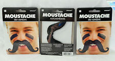 SET OF 3 SELF-ADHESIVE BLACK MOUSTACHE GREAT FOR PARTY DRESS UP COSTUME