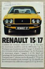 RENAULT 15/17 Car Sales Brochure c1976 #26 114 05 FRENCH TEXT