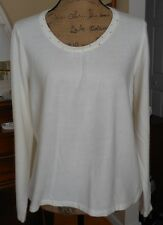 DESIGNERS ORIGINALS SWEATER KNIT LONG SLEEVE ROUND NECK CRYSTAL STUDDED TOP XL