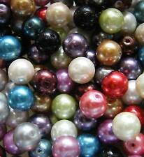 50pcs 10mm Round Glass Pearls - Mixed Colours