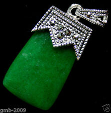 Fashion Women's Natural Green Jade Gems Marcasite 925 Sterling Silver Pendant