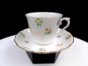 """COLCLOUGH CHINA ENGLAND #1581 MULTI FLORAL 2 3/4"""" CUP AND SAUCER"""