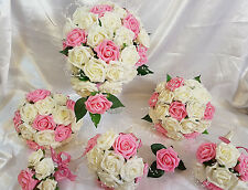 Wedding Flowers Ivory Antique Pink Brides Bridesmaids Bouquet Posy Pearls Cake