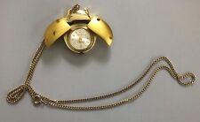 Vintage Gold Tone Jufrex 17 Jewels Swiss Coccinelle Ladybug Watch Pendant