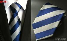 Blue and Grey Silver Stripe Patterned Handmade 100% Silk Wedding Tie