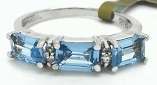 14k White Gold Ring With Diamonds & Aquamarine