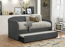 NEW LELAND GRAY LINEN FABRIC DAYBED w/ UNDER BED TRUNDLE