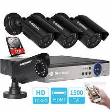 4CH 1080N DVR 1500TVL CCTV Outdoor Night Vision Security Camera System 1TB HDD