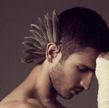1Pcs New Women Men Gothic Punk Turkey Feather Ears Hanging Ear Clip Earring