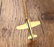 Men's Simple design stainless steel airplane pendants necklace Gold Plated 24'