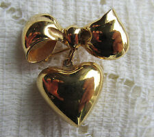 VINTAGE VICTORIAN STYLE MONET PUFFY HEART CHATELAINE BROOCH PIN VALENTINE