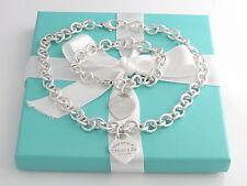 Auth Tiffany & Co Silver Return To Tiffany Heart Tag Bracelet Necklace Set