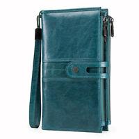 Women Genuine Leather Long Wallet RFID Tri-Zipper Wristlet Clutch ID Card Purse