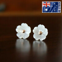 925 Sterling Silver Ladies 10MM White Mother of Pearl Cute Flower Stud Earrings