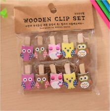 20 PCS Owl Wood Wooden Peg Clip with Twine Hanging Photo Decor