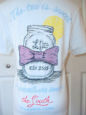 LAUREN JAMES SOUTH TEA IS SWEET ACCENTS ARE SWEETER T SHIRT MASON JAR BOW TEE S