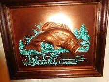 VINTAGE JOHN LOUW 3D COPPER ART BASS FISH NAUTICAL FRAMED PAINTING SCULPTURE