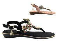 Sandali scarpe da donna bassi Laura Biagiotti 6333 infradito casual gioiello