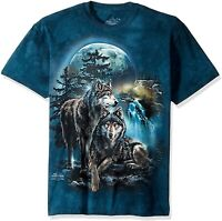 Wolf Lookout Wolves Waterfall Moon Pack Dogs Animal Blue Mountain T-Shirt S-5X