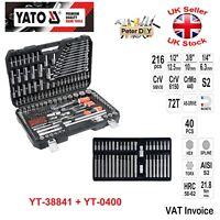 Yato 216 pcs Ratchet Socket Set 1/2 1/4 3/8 + Bit Set 40 pcs YT-38841 + YT-0400