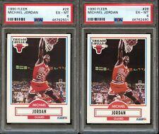 Lot of (2) 1990 Fleer #26 Michael Jordan PSA 6 Bulls