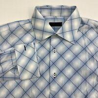 Brandolini Button Up Shirt Men's Size 17.5 Blue White Plaid French Cuff Cotton