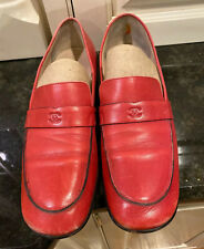 Beautiful Chanel Red Leather Loafers, Size 9 B.