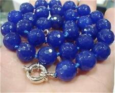 """10mm Faceted Blue Sapphire Round Gems Necklace 18"""""""