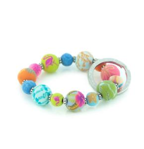 NEW JILZARAH Handmade Clay Beads TAHITI MULTI COLOR 15mm SMALL Wrist Keychain