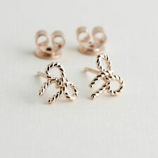 Rose Gold Studs Over 925 Sterling Silver Tiny Bowtie Stud Earrings