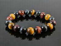Natural 5A Multicolor Tiger Eye Round Stone Bead Stretch Bracelet