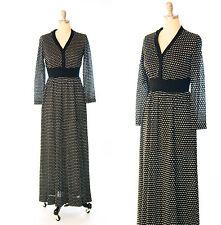 Vintage 70s Metallic Polka Dot Knit Sweater Maxi Dress