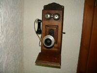 Antique VTG STROMBERG-CARLSON Telephone Oak Wood Hand Crank Wall Box early 1900s