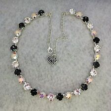Cup Chain Necklace  With Genuine Swarovski Crystal Silver Night/AB/Clear