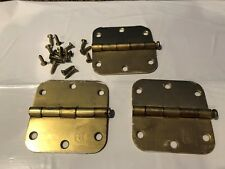 """3-1/2""""x3-1/2"""" Brass Hinges With Screws  (set of 3 - enought for one door)"""