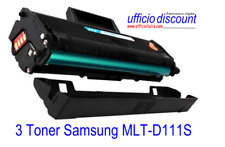 3 Toner Samsung Laser Compatibili MLT-D111S Nero New Chip 1000 copie