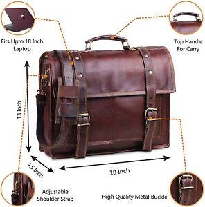 Genuine Leather Shoulder Messenger Laptop Satchel Crossbody Briefcase Handmade