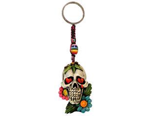 Flower Sugar Skull Handmade 3D Keychain Macrame Metal Keyring Car Bag Accessory