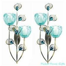 PEACOCK FLOWER BLOSSOM DUO Candle Sconce Wall Decor Set of 2