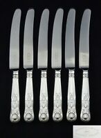 """6 VINTAGE GEORGE BUTLER SILVER PLATED KINGS PATTERN DINNER TABLE KNIVES 9.5"""""""