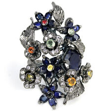 BIG GENUINE MULTI COLOR SAPPHIRE & WHITE CZ STERLING 925 SILVER FLOWER RING 7